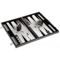 Backgammon simili cuir noir, intérieur gris, grand modèle