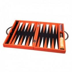 Backgammon de luxe cuir orange